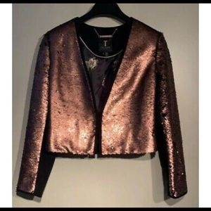 Ted Baker Zalee Sequin Crop Jacket  Sz UK 2 Us 4-6